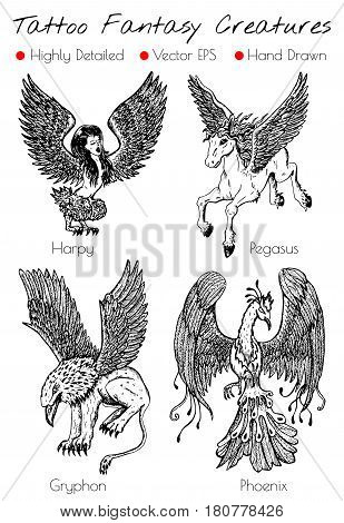 Tattoo set with hand drawn fantasy creatures like Phoenix, Gryphon, Pegasus,, etc. Engraved vector illustration, black and white doodle drawings