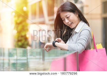 Fashion Woman Shopping With Smart Watch