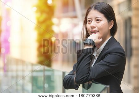 Young Business Woman Wearing Smartwatch On Her Wrist