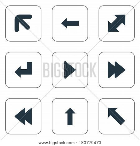 Vector Illustration Set Of Simple Arrows Icons. Elements Left-Up, Straight-Back, Right Landmark Synonyms Backward, Rearward And Up.