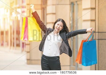 Happy Shopping Business Woman In Excited Winning