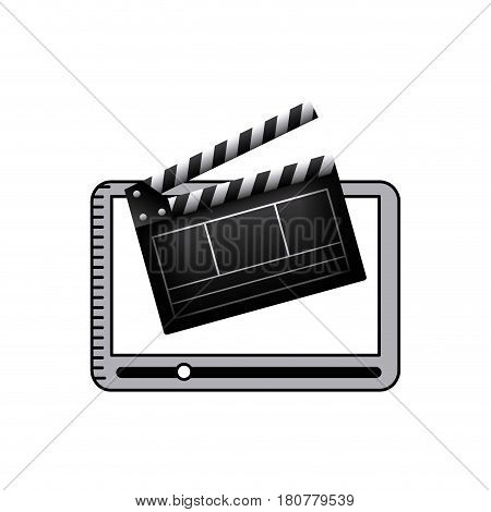 clapboard and smartphone icons over white background. colorful design. vector illustration