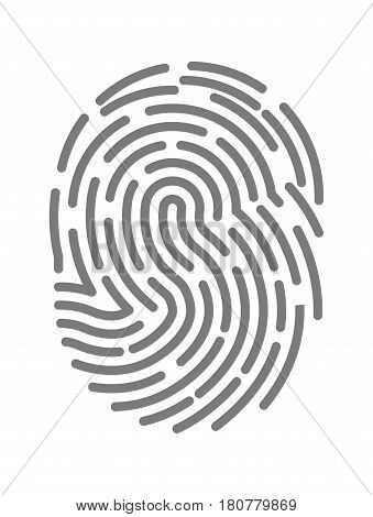Fingerprint twisted lines sign isolated on white vector illustration in flat design. Black dactylogram personal identity code. Person identification mark for control by thumbprint, human finger print