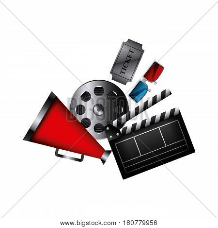 clapboard and cinema related icons over white background. colorful design. vector illustration