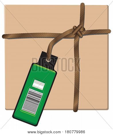 Baggage package for shipping tied with string with label