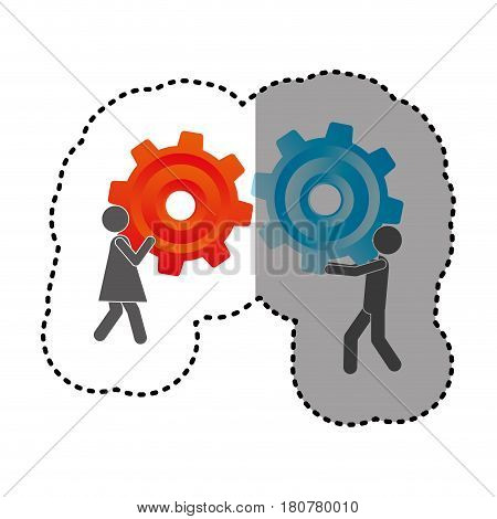 sticker silhouette pictogram man and woman holding a colorful pinions vector illustration