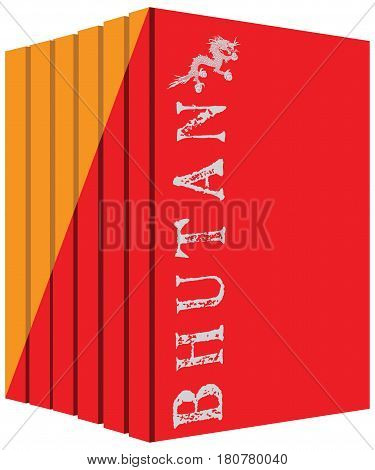 Books about the country of Bhutan. Symbol flag.