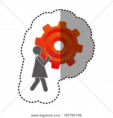 sticker silhouette pictogram woman holding a colorful pinion vector illustration
