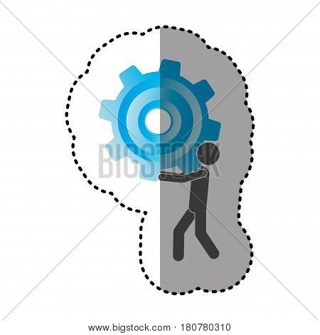 sticker silhouette pictogram man holding a colorful pinion vector illustration