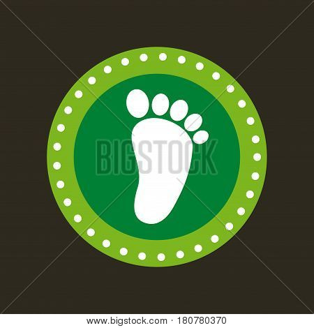 seal stamp with foot icon over black background. save the planet concept. colorful design. vector illustration