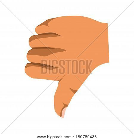 Thumb down sign of nonverbal communication mean. Vector illustration in flat design of isolated human arm on white with one finger pointing ground and showing failure of task or non-acceptance