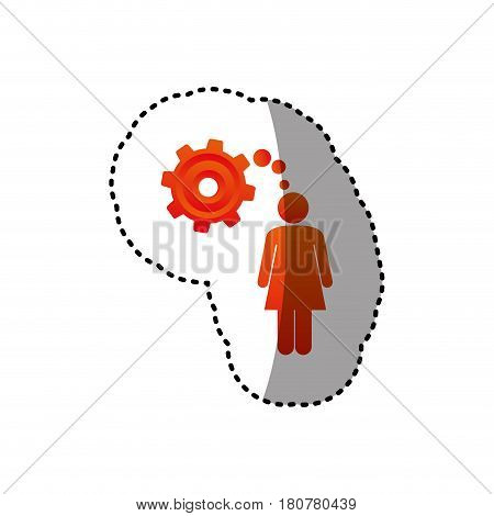sticker colorful pictogram woman thought in a pinion vector illustration