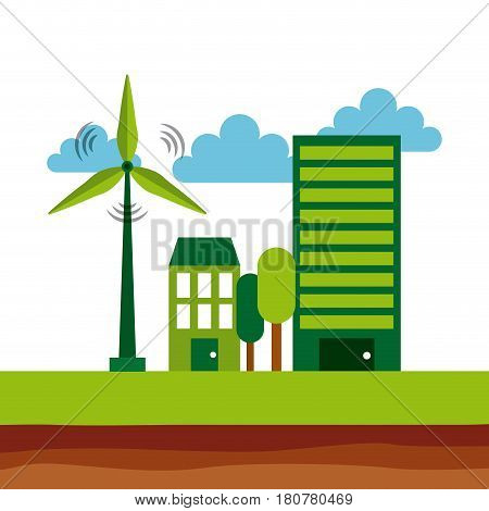 ecology and sustainability building and house with eolic wind. save the planet concept. colorful design. vector illustration