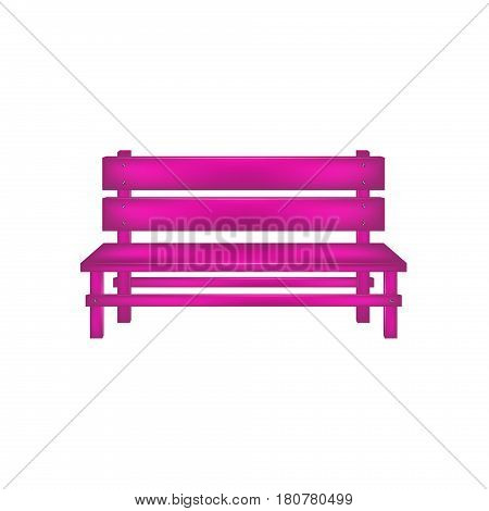 Rural bench in pink design on white background