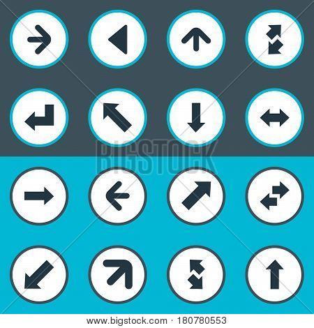 Vector Illustration Set Of Simple Arrows Icons. Elements Raise-Fall, Left Indication, Upward Direction And Other Synonyms Down Left Pointing, Left And Slanted.