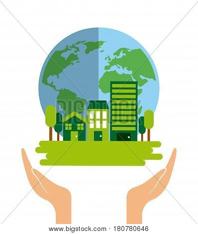 hand with earth planet and sustainability city over white background. save the planet concept. colorful design. vector illustration