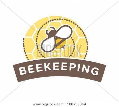 Beekeeping logo design with abstract bee on honeycomb isolated on white. Logotype in flat style with flying insect gathering mead. Vector illustration of flying creature logotype label sticker.