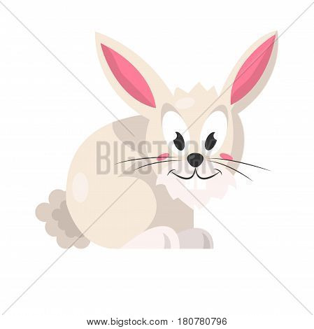 Cute light pink rabbit sitting isolated on white vector illustration in flat design cartoon style. Domestic hairy animal with long rosy ears, black whiskers, big eyes and small fluffy tail, hare bunny