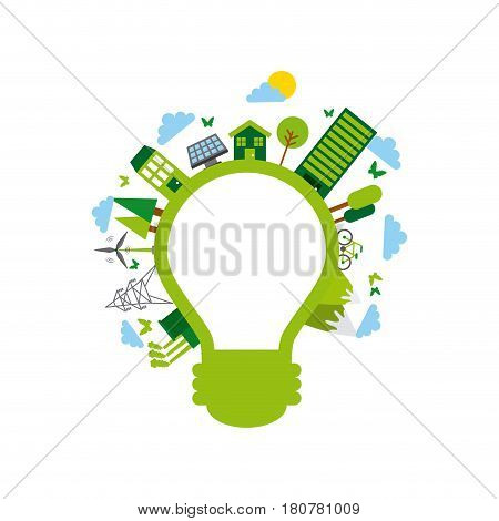 bulb light and sustainability and ecology related icons over white background. colorful design. vector illustration