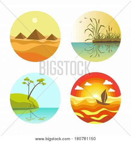 Landscape round icons colorful collection isolated on white. Vector poster of pyramids, reed maces, tree on beach and floating sail boat web buttons. Nature sceneries banner in flat design.