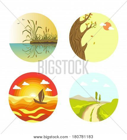 Nature views in round web buttons isolated on white. Landscape of calm weather on river with reed maces on beach, path in field, floating sail boat and tree with colorful falling leaves vector poster