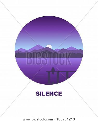 Night silence round logo icon isolated on white vector illustration in flat design. Label with male person sitting on small bridge and looking on water with mountains on background and sunset