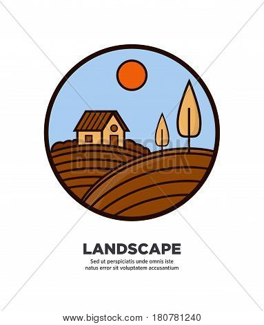 Rural nature landscape on round logotype isolated on white with written information below vector colorful illustration. Label in round shape with hilly land, one house and some trees under sun