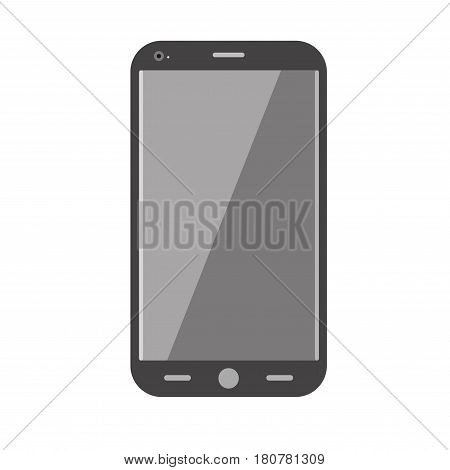 Realistic mobile phone isolated on white. Communication device, smartphone realistic vector design. Digital phone office equipment element. Electronic cellphone media communicator, stylish accessory