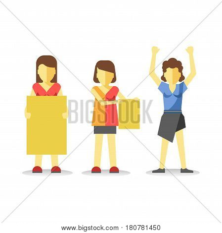 Protesting woman holding empty yellow banner above head isolated on white. Vector of female striking at demonstration in flat style design. Worker demonstrator hands up, revolution for freedom
