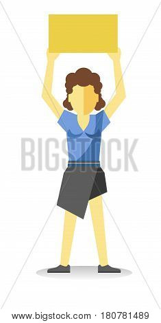 Striking woman holding empty yellow banner above head isolated on white. Vector of female protesting at demonstration in flat style design. Worker demonstrator with billboard, revolution for freedom