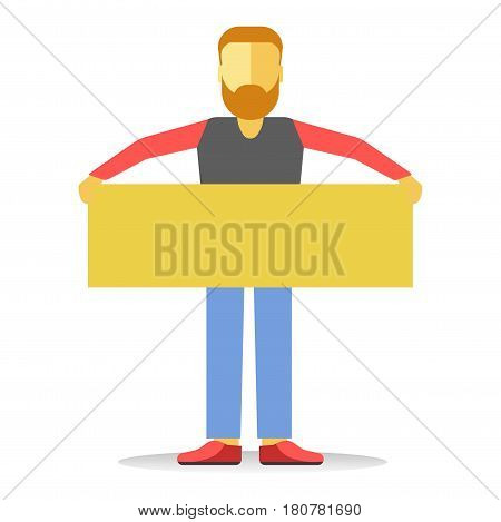 Anonymous faceless striking man with beard holding empty yellow banner isolated on white. Person worker demonstrator with big board. Vector illustration of male protesting against law at demonstration