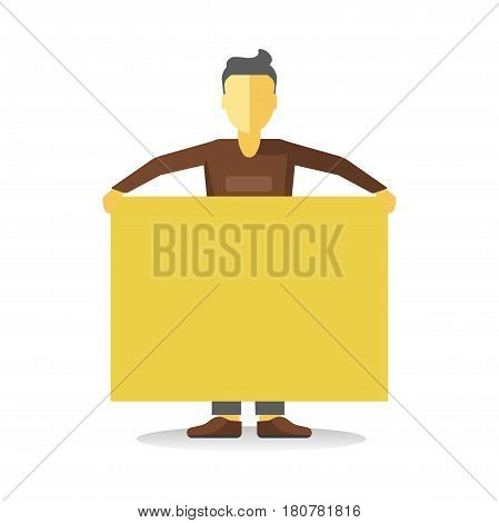 Striking man holding empty yellow banner isolated on white. Faceless person worker demonstrator with bigboard. Vector illustration of male protesting against law at demonstration in flat style design