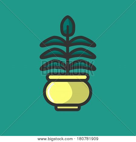 Green plant growing in clay pot isolated on white. Logo design of organic houseplant in flowerpot vector illustration. Logotype for company producing plants, decorative element in house interior