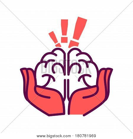 Brain in hands with exclamation mark above isolated on white. Mind with idea in careful human arms vector illustration. Education concept, hold solution or answer in own hand, symbol of cleverness