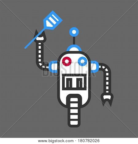 Robot machine cooker with wooden spatula for frying in hand isolated. Vector illustration in flat design of technological device on wheel, with cooking instruments in arm. Futuristic android