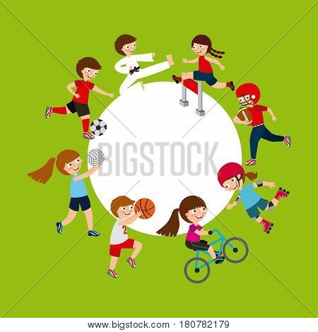 kids practicing sports, cartoon icons. colorful design. vector illustration