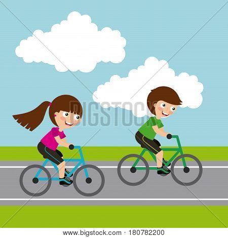kids riding bicycle, cartoon icon over landscape background. colorful design. vector illustration