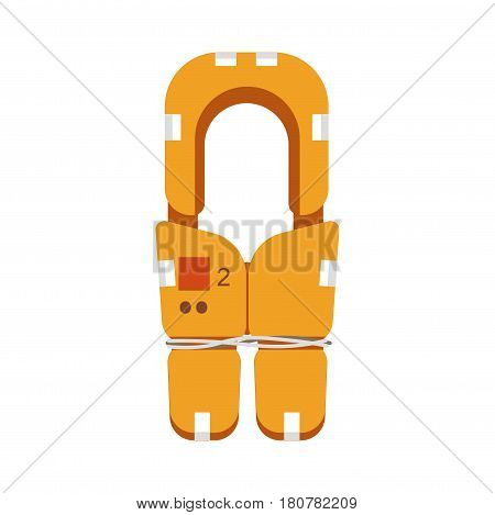 Oars fixer element isolated on white. Lifeguard rubber buoy safety object in flat style. Vector illustration of life belt with number, fastened anchorage with rope, sea saving equipment design