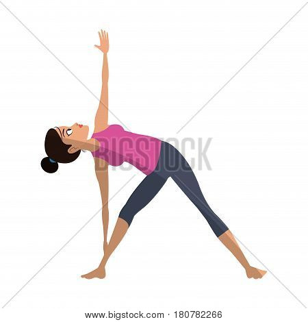 girl doing yoga with extended triangle pose, cartoon icon over white background. colorful design. vector illustration