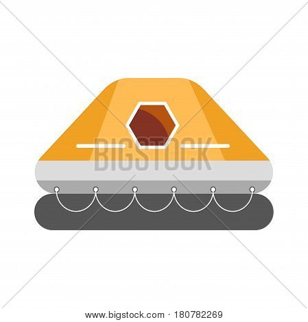 Rubber colorful inflatable boat with walls and roof and small window isolated on white. Vector illustration in flat design of orange special element for swimming on water, safety ship float