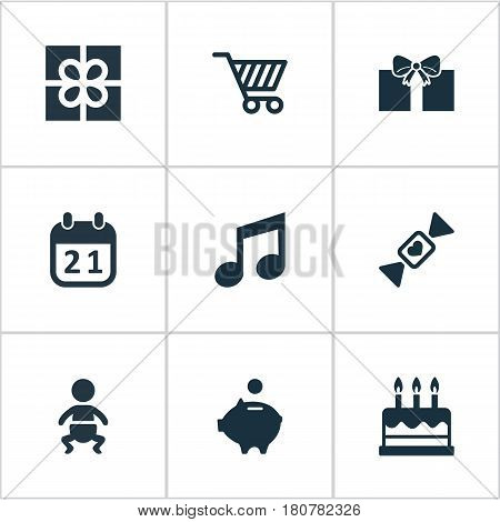 Vector Illustration Set Of Simple Holiday Icons. Elements Cake, Box, Money Pig And Other Synonyms Money, Box And Candy.