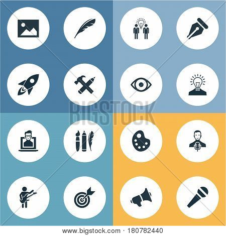 Vector Illustration Set Of Simple Visual Art Icons. Elements Pencil, Writing Tool, Nerd And Other Synonyms Palette, Shuttle And Music.
