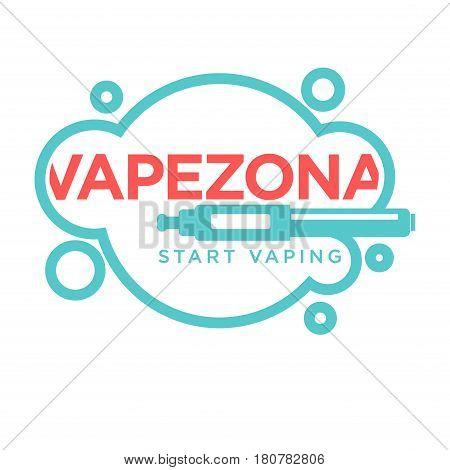 Vapezone start vaping logo design isolated on white. Vape e-cigarette emblem vector illustration. Professional vapeshop logotype label sticker. Electronic cigarette for store advert, smoking concept
