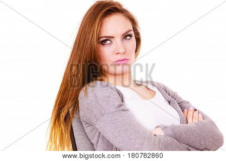 Woman Tired Serious Offended Face Expression