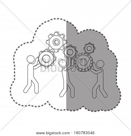 sticker silhouette pictogram people and industry progress vector illustration