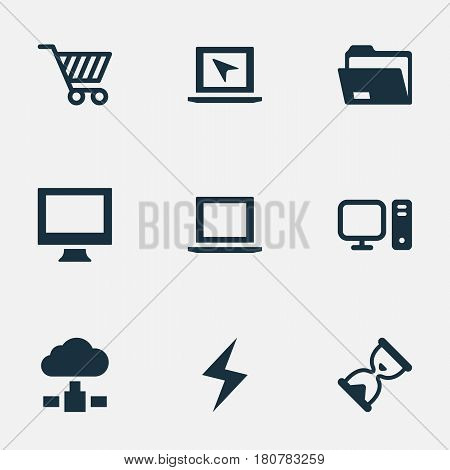 Vector Illustration Set Of Simple Laptop Icons. Elements Hourglass, Memory, Dossier And Other Synonyms Bolt, Laptop And Shopping.