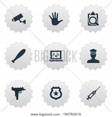 Vector Illustration Set Of Simple Offense Icons. Elements File, Volunteer, Safety And Other Synonyms File, Security And Gun.