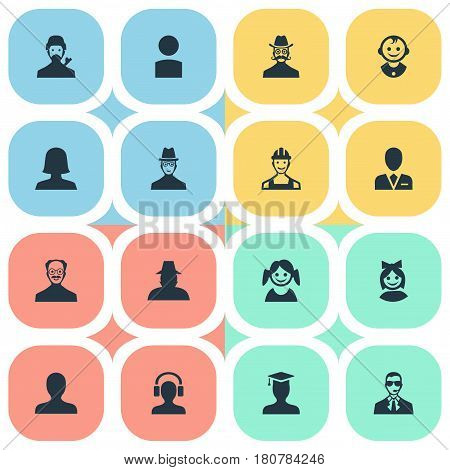 Vector Illustration Set Of Simple Human Icons. Elements Postgraduate, Mysterious Man, Young Shaver And Other Synonyms Security, Whiskers And Proletarian.