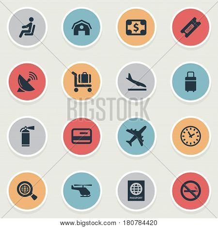 Vector Illustration Set Of Simple Transportation Icons. Elements Cigarette Forbidden, Baggage Cart, Alighting Plane And Other Synonyms Card, Cart And Alighting.