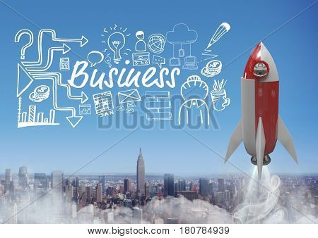 Digital composite of 3D rocket flying over city and Business text with drawings graphics